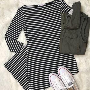 3/4 Sleeve Black & White Stripe Midi Dress